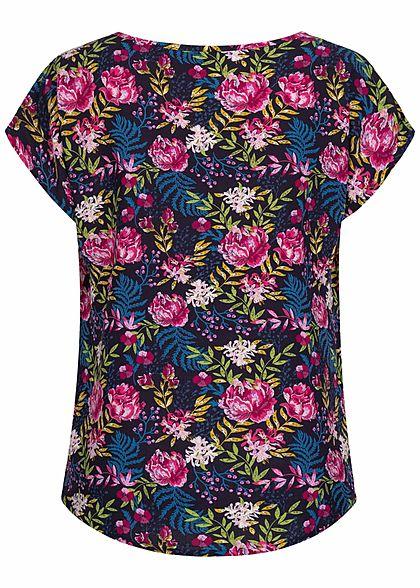 Sublevel Damen Viskose Sommer Bluse Vokuhila Floraler Print dunkel blau multicolor