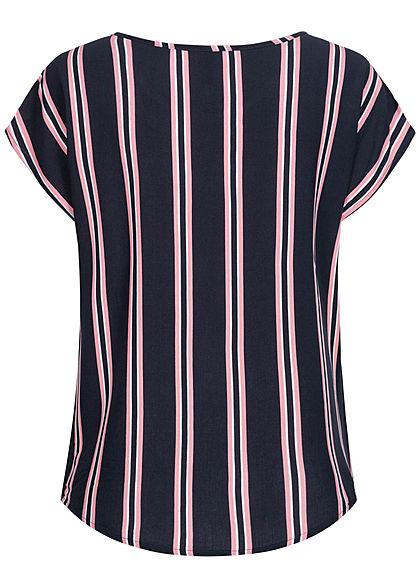 Sublevel Damen Viskose Sommer Bluse Vokuhila Streifen Muster dunkel navy rosa weiss