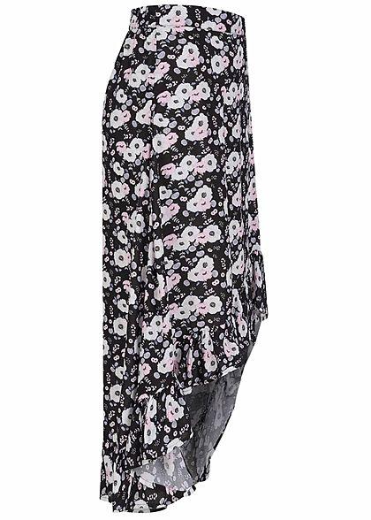 Sublevel Damen Viskose Volant Longform Rock Vokuhila Blumen Muster schwarz