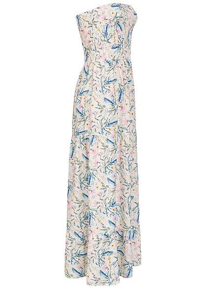 Fresh Made Damen Bandeau Viskose Maxi Kleid Blumen Muster ivory pastel weiss