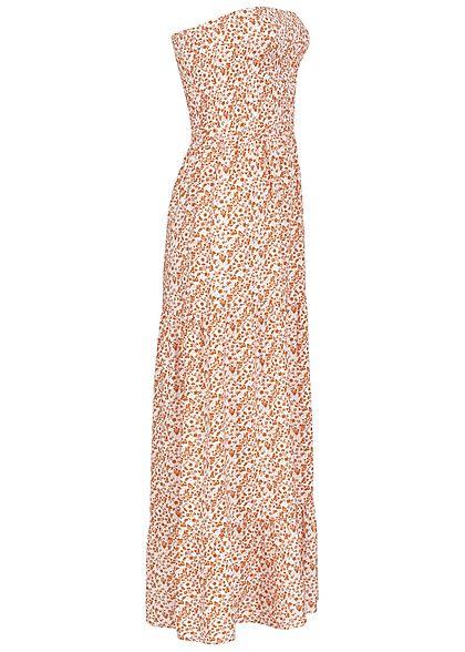 Fresh Made Damen Bandeau Viskose Maxi Kleid Blumen Muster off weiss toffee braun