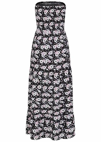 Fresh Made Damen Bandeau Viskose Maxi Kleid Blumen Muster schwarz