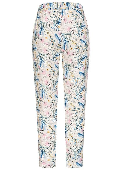 Sublevel Damen Viskose Stoffhose Tunnelzug Blumen Muster ivory weiss pastel mc