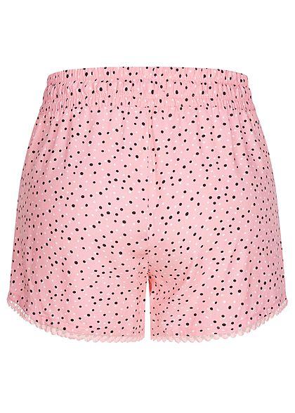 Fresh Made Damen Viskose Shorts 2-Pockets Tunnelzug Punkte Muster parfait pink