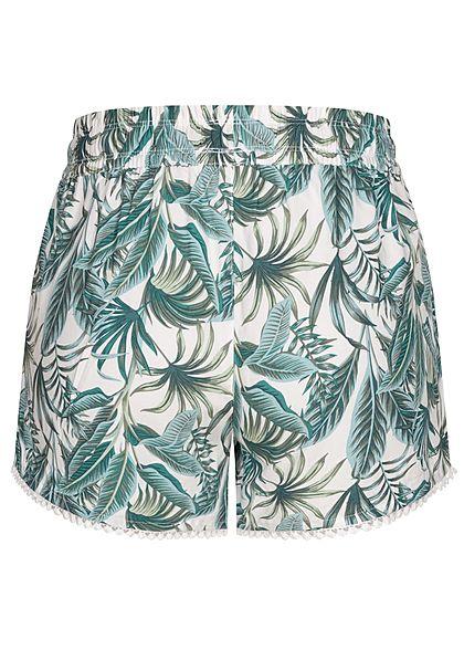 Fresh Made Damen Viskose Shorts 2-Pockets Tunnelzug Tropical Print off weiss grün
