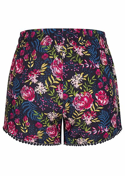 Fresh Made Damen Viskose Shorts 2-Pockets Tunnelzug Blumen Muster dunkel blau mc