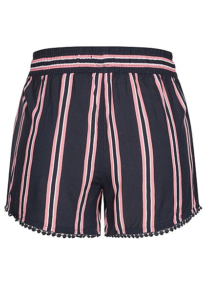 Fresh Made Damen Viskose Shorts 2-Pockets Tunnelzug Streifen Muster navy blau rosa