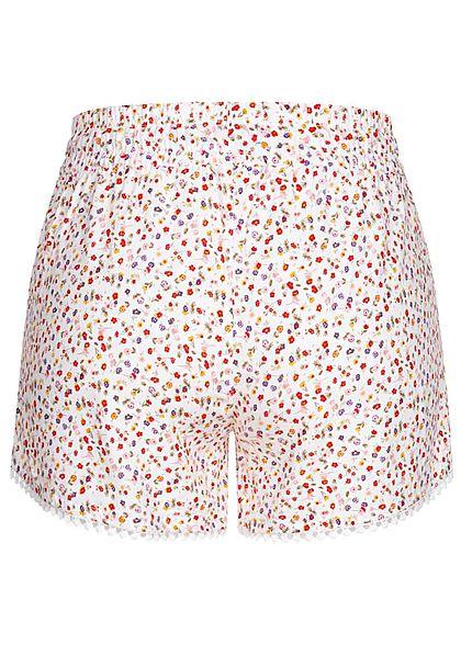 Fresh Made Damen Viskose Shorts 2-Pockets Tunnelzug Blumen Muster ivory weiss mc