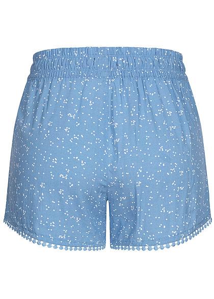 Fresh Made Damen Viskose Shorts 2-Pockets Tunnelzug Punkte Muster lichen blau