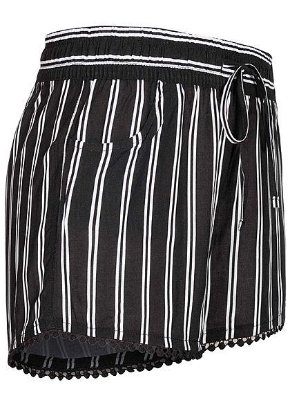 Fresh Made Damen Viskose Shorts 2-Pockets Tunnelzug Streifen Muster schwarz weiss