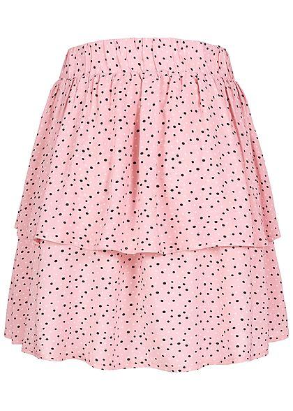 Sublevel Damen Mini Stufen Rock mit Volants Punkte Muster parfait pink schwarz weiss