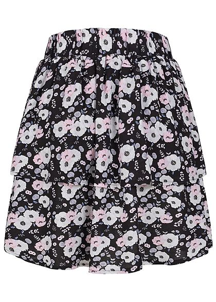 Sublevel Damen Mini Stufen Rock mit Volants Blumen Muster anemone schwarz weiss rosa