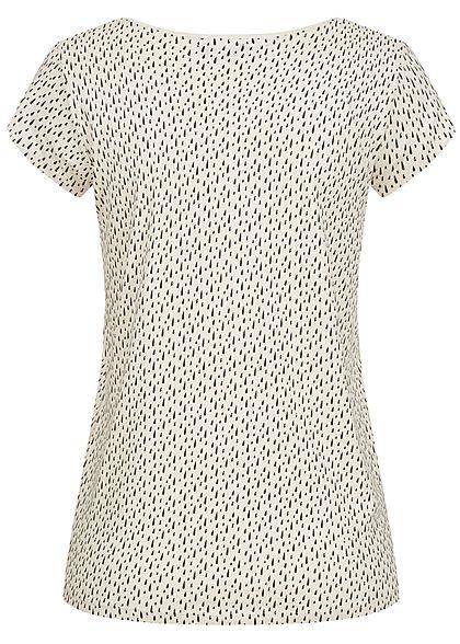 Sublevel Damen T-Shirt Tropfen Muster nude beige schwarz