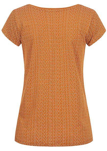 Sublevel Damen T-Shirt Strich Muster toffee braun weiss