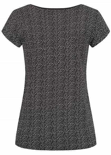 Sublevel Damen T-Shirt Tropfen Punkte Muster schwarz weiss