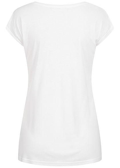 Sublevel Damen T-Shirt Trés Jolie Pailletten Print weiss blau
