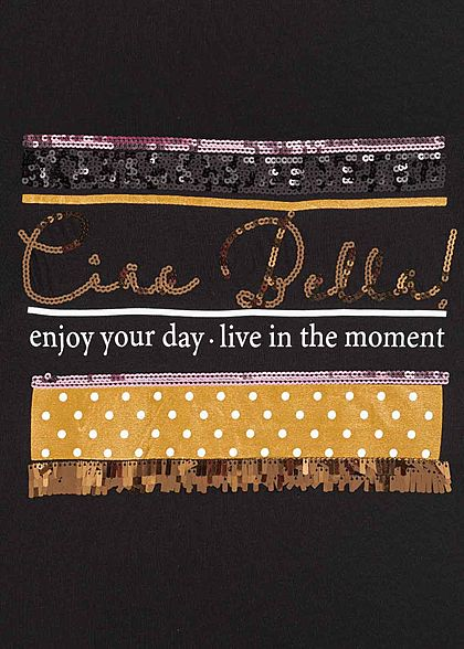 Sublevel Damen T-Shirt Ciao Bella Pailletten Print schwarz rosa gold