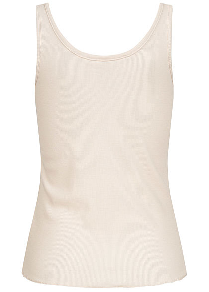 Stitch and Soul Damen Ribbed Tank Top Frill Deko Knopfleiste nude beige