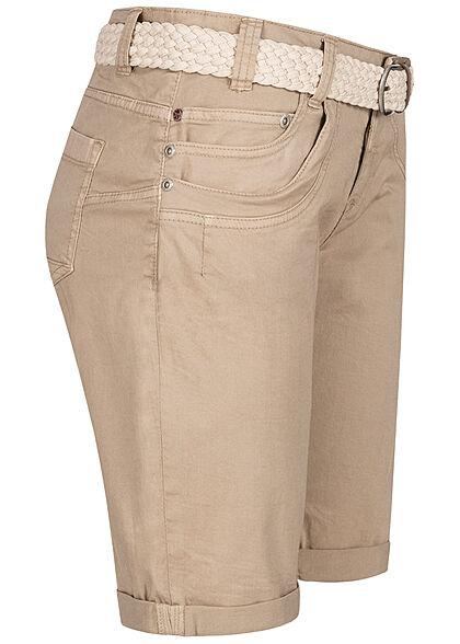 Stitch and Soul Damen Chino Bermuda Shorts 6-Pockets inkl Flechtgürtel sahara sand beige