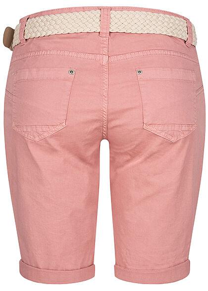 Stitch and Soul Damen Chino Bermuda Shorts 6-Pockets inkl Flechtgürtel rouge rosa