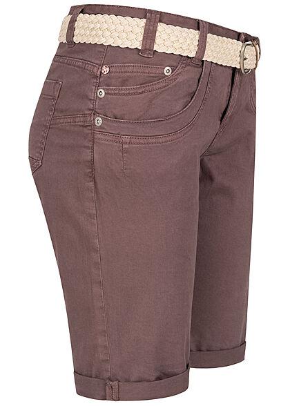 Stitch and Soul Damen Chino Bermuda Shorts 6-Pockets inkl Flechtgürtel mauve lila