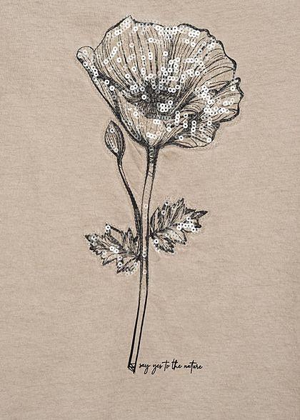 Fresh Made Damen T-Shirt Klatschmohn Blumen Muster Pailletten nude beige