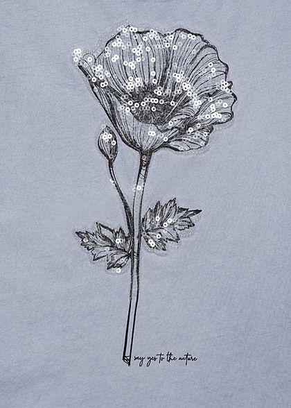 Fresh Made Damen T-Shirt Klatschmohn Blumen Muster Pailletten vintage jeans blau