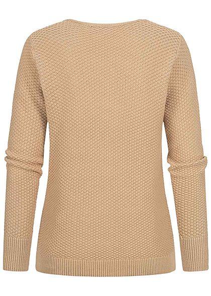 Fresh Made Damen V-Neck Grobstrick Pullover Sweater sahara sand beige