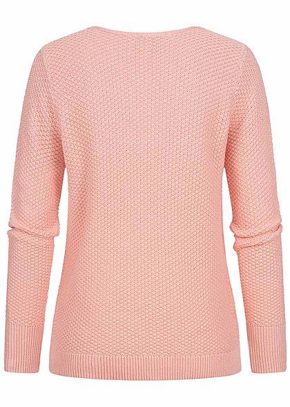 Fresh Made Damen V-Neck Grobstrick Pullover Sweater peachskin rosa