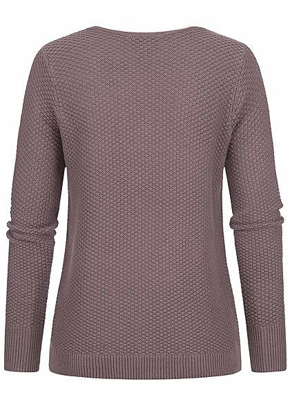 Fresh Made Damen V-Neck Grobstrick Pullover Sweater vintage mauve dunkel lila