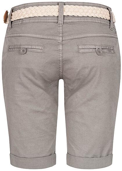 Fresh Made Damen Chino Bermuda Shorts 4-Pockets inkl Flechtgürtel taupe grau beige