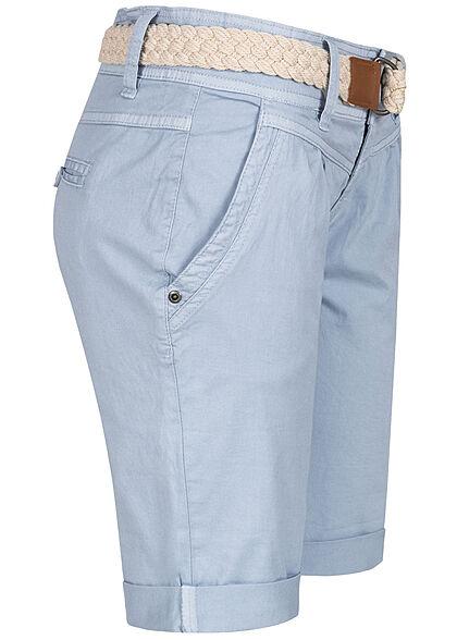 Fresh Made Damen Chino Bermuda Shorts 4-Pockets inkl Flechtgürtel jeans blau