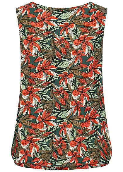 Eight2Nine Damen V-Neck Blusen Top Bindedetail vorne Tropical Print grün rot