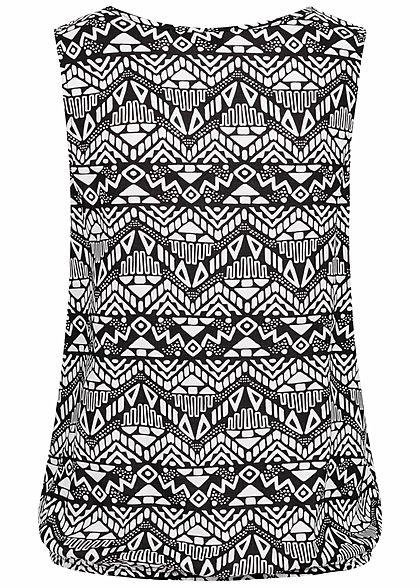 Eight2Nine Damen V-Neck Blusen Top Bindedetail vorne Azteken Print schwarz weiss