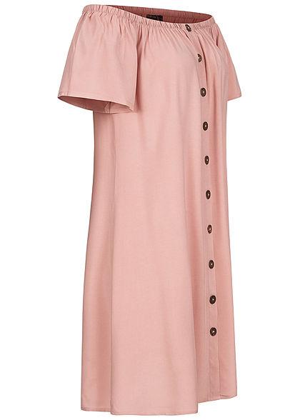 Eight2Nine Damen Off-Shoulder Mini Kleid Deko Knopfleiste hazy rosa