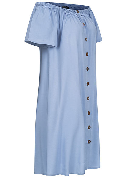 Eight2Nine Damen Off-Shoulder Mini Kleid Deko Knopfleiste sky blau