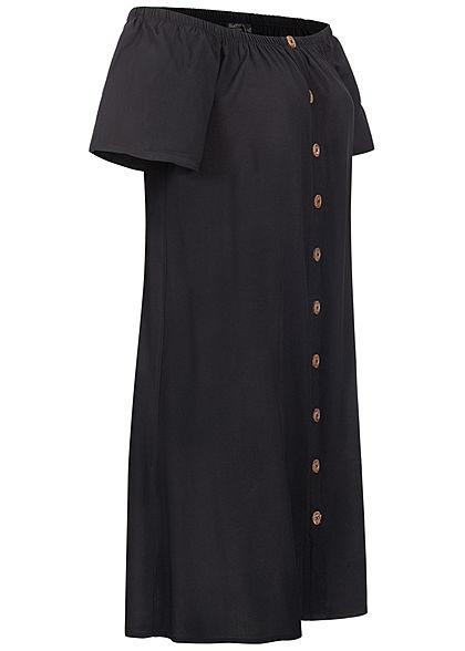 Eight2Nine Damen Off-Shoulder Mini Kleid Deko Knopfleiste schwarz