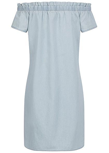 Eight2Nine Damen Off-Shoulder Mini Kleid hell blau denim