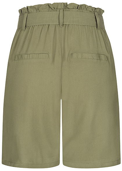 Eight2Nine Damen Paperbag Shorts inkl. Bindegürtel 2-Pockets oliv grün