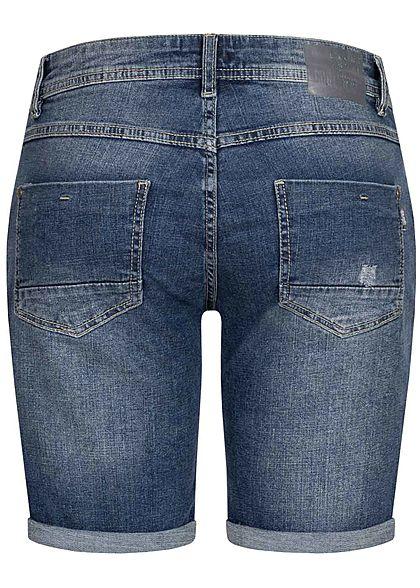 Eight2Nine Damen Jeans Bermuda Shorts Crash Optik 5-Pockets dunkel blau denim