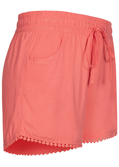 Fresh Made Damen Viskose Shorts 2-Pockets Tunnelzug intense coral pink
