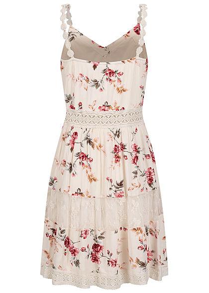 ONLY Damen NOOS V-Neck Mini Kleid Rosen Print 2-lagig creme brulee beige