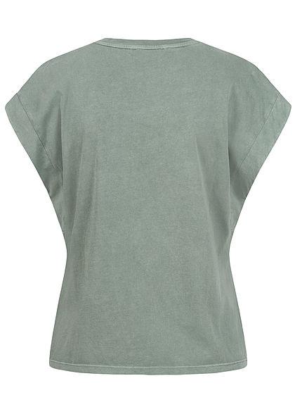 Tom Tailor Damen V-Neck T-Shirt Ärmelumschlag dusty pine grün