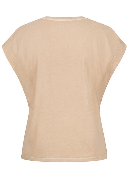Tom Tailor Damen V-Neck T-Shirt Ärmelumschlag dune beige