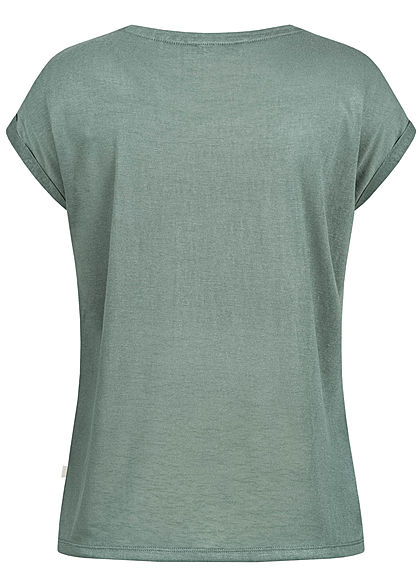 Tom Tailor Damen T-Shirt Ärmelumschlag dusty pine grün
