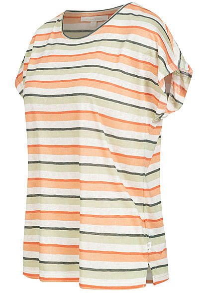 Tom Tailor Damen T-Shirt Ärmelumschlag Streifen Muster multicolor rot grün
