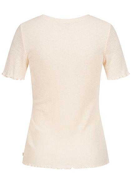 Tom Tailor Damen Ribbed T-Shirt Frill am Saum soft creme beige