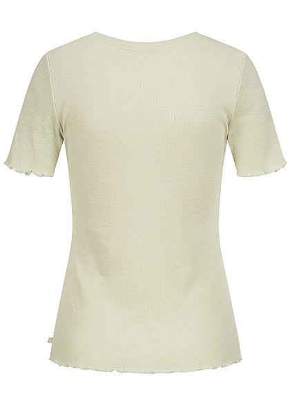 Tom Tailor Damen Ribbed T-Shirt Frill am Saum dusty hell grün