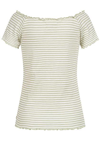 Tom Tailor Damen Ribbed Carmen T-Shirt Frill am Saum Streifen Muster grün weiss
