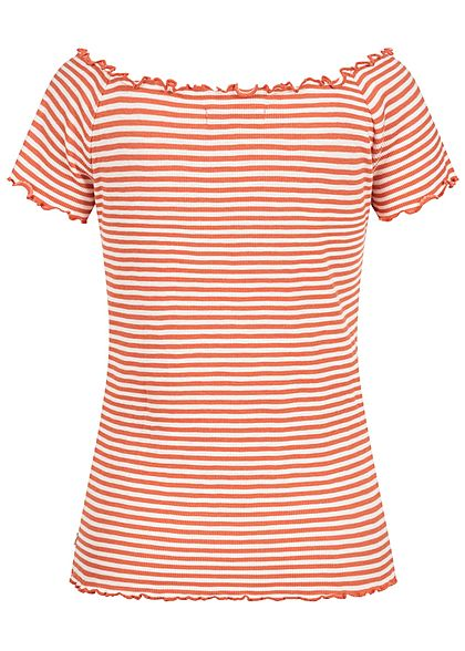 Tom Tailor Damen Ribbed Carmen T-Shirt Frill am Saum Streifen Muster coral orange